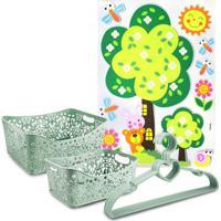 Conjunto Cesto Organizador Retangular 2 Peças E Cabide C/ 5 Pçs Lifestyle E Adesivo Para Criança Jacki Design Verde - Kanui