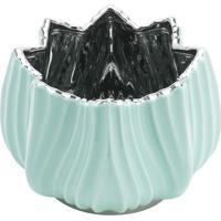 Vaso Decorativo- Azul Claro & Prateado- 11X15X15Cm