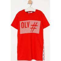"""Camiseta """"Hashtag O.L.V"""" Com Recortes- Vermelha & Brancaoliver"""