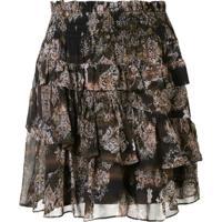Iro Herty Tiered A-Line Skirt - Preto