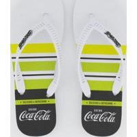 Chinelo Coca Cola Mast Masculino - Masculino-Branco