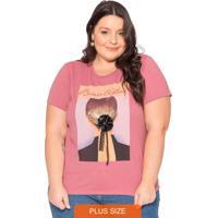 T-Shirt Estampada E Aplique De Flor 3D Rosa