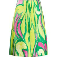 Marni Abstract Print Silk Skirt - Verde