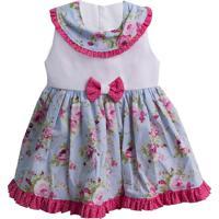Vestido Padroeira Baby Jardim Azul Bebê.
