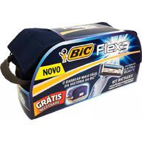 Kit De Barbear Bic Flex 3 Extra Suave Com 4 Aparelho Descartáveis + Grátis 1 Necessáire