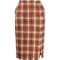 Versace Saia Lápis De Tweed - Marrom