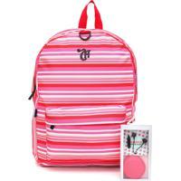 Mochila Dmw Stripes Com Fone Capricho Rosa/Vermelha