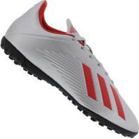 Chuteira Society Adidas X 19.4 Tf - Adulto - Cinza Cla/Vermelho