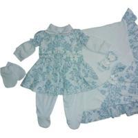 Kit Saída De Maternidade Menina 5 Peças Florence Azul I9 Baby