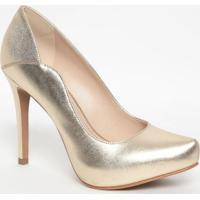 Sapato Em Couro Metalizado- Dourado- Salto: 11Cmloucos E Santos