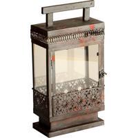 Lanterna Decorativa De Metal Envelhecido E Vidro Dakhla Pequena