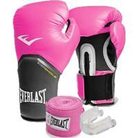 Kit Boxe Elite Everlast 14Oz Rosa - Unissex