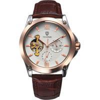 Relógio Tevise 8502 Masculino Automático Pulseira De Couro - Branco E Dourado