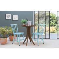 Conjunto Bistrô Mesa E 2 Cadeiras Redonda Juliette - Nogueira E Azul Bebê