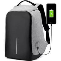 Mochila Compartimento Para Notebook Laptop Saída Usb Carregamento De Dispositivos - Unissex-Cinza