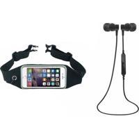 Kit Kimaster Fone De Ouvido Bluetooth Sports Preto E Pochete Dagg Running