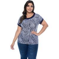 Blusa Fajos Plus Size Zebra Azul