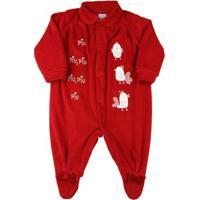 Macacão Bebê Plush 3 Pintinhos Piu Piu - Vermelho G