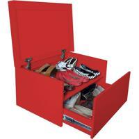 Sapateira Box Baú Caixa Organizadora Para Sapatos - Vermelho Laca