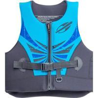 Colete Homologado Classe V Com Zíper - Masculino-Preto+Azul