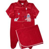 Saída De Maternidade Ano Zero Bebê Plush Liso E Trabalhado Escamas Elefantinhos Vermelho