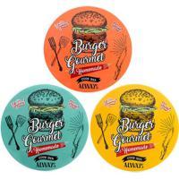 "Jogo De Pratos De Lanches ""Burguer""- Branco & Amarelo"