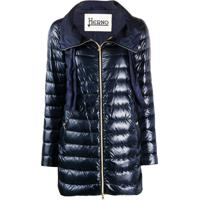 Herno Drawstring-Neck Quilted Down Coat - Azul