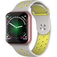 Relógio Smartwatch F8 Monitor Cardíaco Dourado/Cinza