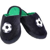 Chinelo Pantufa Infantil Masculino Em Pelucia Para Inverno - Futebol