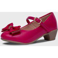 Sapato De Salto Pópidí Menina Laço Strass Pink