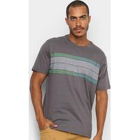 Camiseta Hd Long Stripe Masculina - Masculino-Cinza