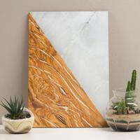 Placa Decorativa - Wood And Marble