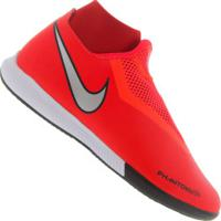 Chuteira Futsal Nike Phantom Vivsn Academy Df Ic - Adulto - Vermelho/Prata