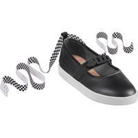Sapato Boneca Com Amarração Em Couro- Preto & Brancolilica Ripilica E Tigor T. Tigre