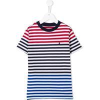 Ralph Lauren Kids Striped Logo Embroidered T-Shirt - Vermelho