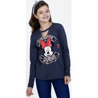 Blusa Juvenil Choker Minnie Manga Longa Disney