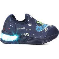 Tênis Infantil Bibi Led Space Wave Astronalta Masculino - Masculino-Marinho