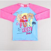 Blusa De Praia Infantil Barbie Raglan Manga Longa Com Proteção Uv50+ Rosa Neon