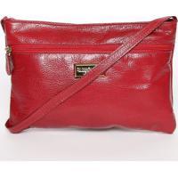 Bolsa Em Couro Transversal Texturizada- Vermelha- 16Di Marlys