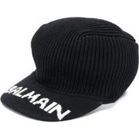 Balmain Kids Logo-Print Knitted Cap - Preto