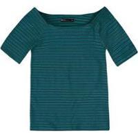 Blusa Básica Em Malha De Algodão Com Decote Canoa Feminina - Feminino-Verde Água