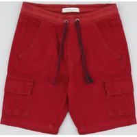 Bermuda Color Infantil Cargo Com Bolsos E Cordão Vermelha