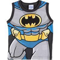 Camiseta Regata Justice League Infantil Para Menino - Cinza