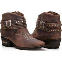 Bota Texana Country Capelli Boots Couro Cano Curto Fivelas Feminina - Feminino-Café