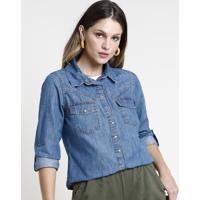 Camisa Jeans Feminina Com Bolso Manga Longa Azul Médio