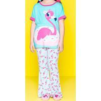 Pijama Flamingo - Verde Água & Rosapuket