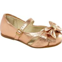 Sapato Boneca Em Couro Com Laã§O & Vazados- Bronzeprints Kids