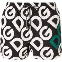 Dolce & Gabbana Short De Natação Com Estampa De Logo - Branco