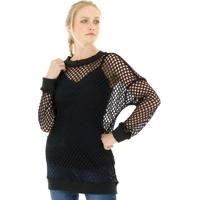 Blusa Aha Crochet Maxi 1 Preto