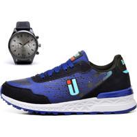 Kit Tênis Ousy Shoes Running Azul Lançamento + Relógio
